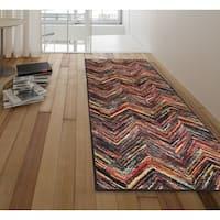 Ottomanson Rainbow Collection Nonslip Modern Multicolor Abstract Chevron Design Area Rug - 1'8 x 4'11