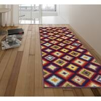 Ottomanson Rainbow Collection Multicolor Synthetic Non-slip Abstract Art Deco Design Area Rug - 1'8 x 4'11