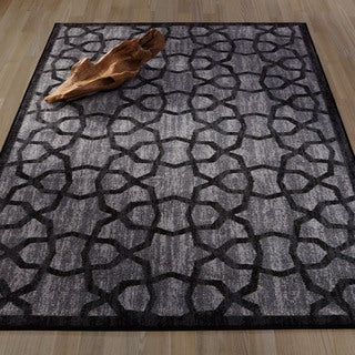 Ottomanson Authentic Collection Dark Grey Nonslip Contemporary Geometric Trellis Design Area Rug (8'2 x 9'10)