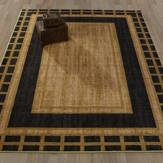 Ottomanson Authentic Collection Dark Green Polypropylene Bordered Area Rug (8'2 x 9'10)