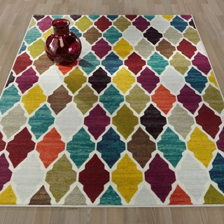 Ottomanson Authentic Collection Multicolor Sythentic Non-slip Trellis Design Area Rug (5'0 x 6'6)