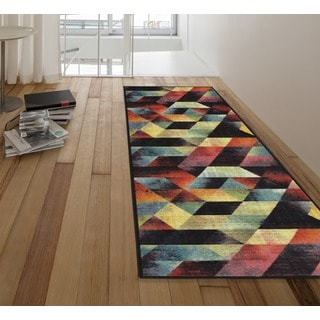 Ottomanson Rainbow Collection Abstract Art Deco Multicolor Polypropylene Area Rug (1'8 x 4'11)