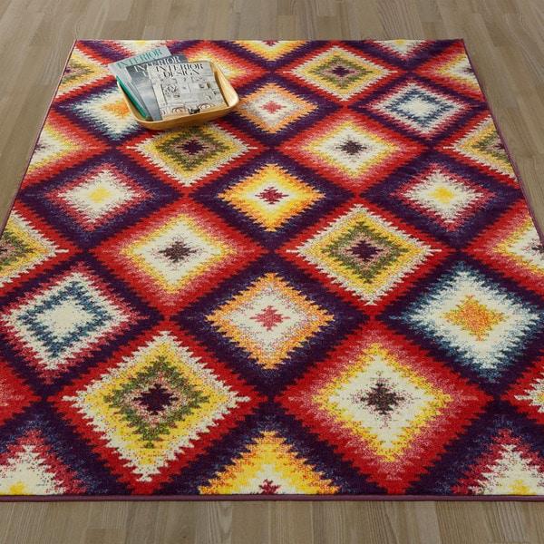 Ottomanson Rainbow Collection Multicolor Polypropylene Non