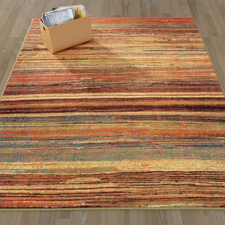 Ottomanson Authentic Collection Multicolor Nonslip Contemporary Abstract Stripes Design Area Rug (5'0 x 6'6)