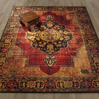 Ottomanson Authentic Collection Non-slip Traditional Overdye Inspired Vintage Design Area Rug ( 5'0 X 6'6)