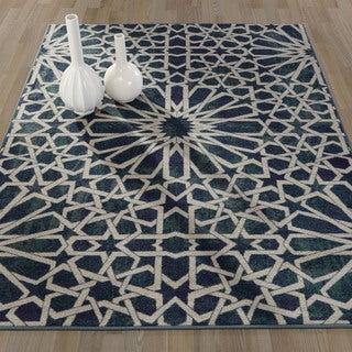 Ottomanson Authentic Collection Nonslip Contemporary Blue Polypropylene Geometric Pattern Area Rug (5' x 6'6)