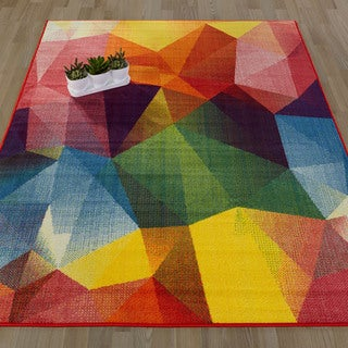 Ottomanson Rainbow Collection Nonslip Modern Multi-color Abstract Pattern Design Area Rug (5'0 X 6'6)