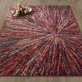 Ottomanson Rainbow Collection Multicolor Abstract Firework Design Non-slip Modern Area Rug (5'0 x 6'6)