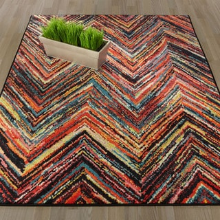 Ottomanson Rainbow Collection Multicolor Abstract Chevron Design Area Rug (5'0 x 6'6)