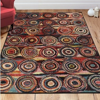 Ottomanson Rainbow Collection Multicolor Polypropylene Non-slip Modern Abstract Circles-design Area Rug (5' x 6'6)