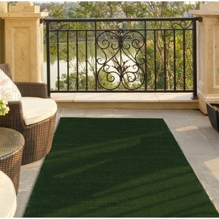 Ottomanson Evergreen Collection Indoor/Outdoor Green Artificial Grass Turf Solid Design Runner Rug (3'0 x 7'3)
