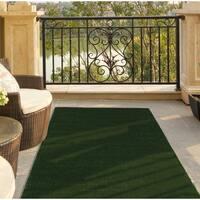 Ottomanson Evergreen Collection Indoor/Outdoor Green Artificial Grass Turf Solid Design Runner Rug - 3'0 x 7'3