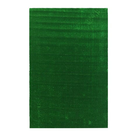Ottomanson Evergreen Collection Green Artificial Grass Turf Indoor/Outdoor Solid Design Runner Rug - 6'0 x 7'3