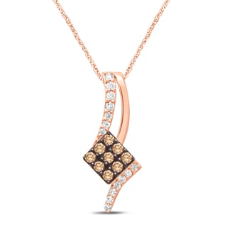 Unending Love 10k Rose Gold 1/3ct TDW Brown &White Diamond Pendant Necklace (IJ I2-I3)
