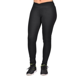 Women's Black Curved-front Elastic-waist Fashion Leggings
