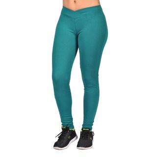 Fashion Women's Green Curved Front Elastic Waist Leggings