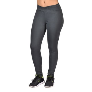 Fashion Women's Charcoal Curved Front Elastic Waist Leggings