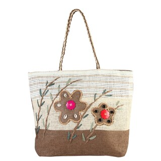 Diophy Coffee Floral Beads Decor Woven Large Beach Tote Bag
