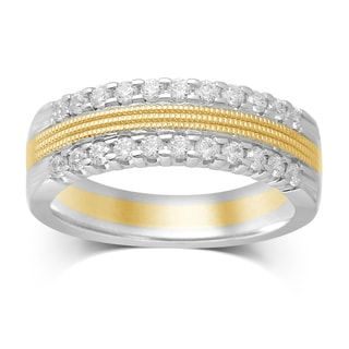 Unending Love 10k Two-tone Gold 1/2ct TDW 2 Row Diamond Milgrain Wedding Band (IJ I2)