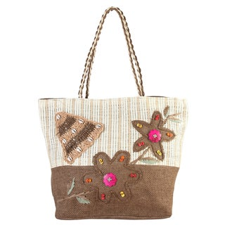 Diophy Polyester Floral Beads Decor Woven Large Beach Tote Bag