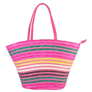 Diophy Multicolored Polyester Woven Medium Beach Tote Bag