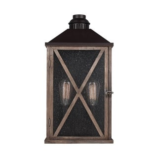 Feiss Lumiere' 2 Light Dark Weathered Oak / Oil Rubbed Bronze Wall Sconce