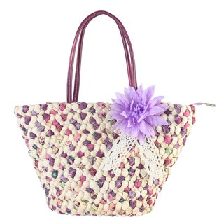 Diophy Colorful Woven Medium Beach Tote Bag