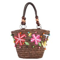 Diophy Multicolored Polyester Woven Small Coffee Beach Tote Bag