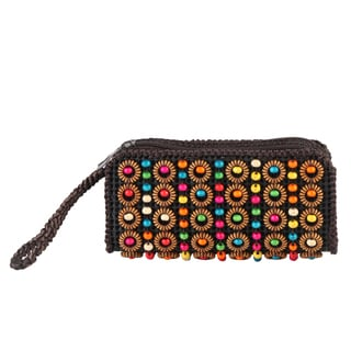 Diophy Colorful Woven Bead Decor Clutch Wristlet