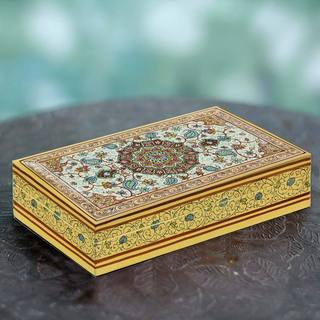 Handcrafted Papier Mache Kail Wood 'Kashmir Mandala' Decorative Box (India)