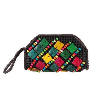 Diophy Colorful Beads Woven Clutch Wristlet Wallet