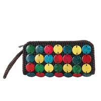 Diophy Woven Bead Decor Colorful Clutch Wristlet Wallet