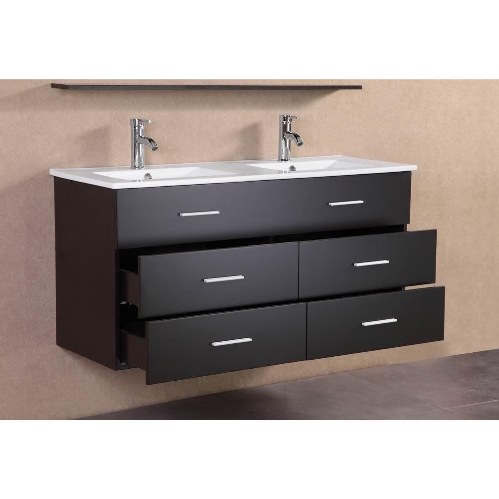 Shop modern espresso wall floating 48 inch double sink bathroom vanity free shipping today overstock 12601043