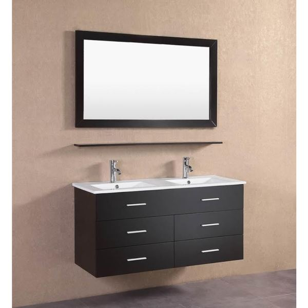 Shop modern espresso wall floating 48 inch double sink - 50 inch double sink bathroom vanity ...