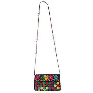 Diophy Multicolored Polyester/PVC Woven Crossbody Handbag