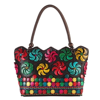 Diophy Multicolored Polyester/PVC Woven Beaded Large Tote Bag