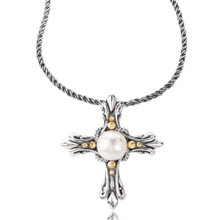 Avanti Sterling Silver and 18K Yellow Gold Round Black Pearl Pendant Necklace