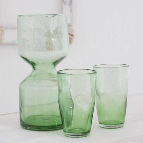 Handmade Set of 2 Blown Glass 'Jade Chalice' Carafe and Glasses (Guatemala)