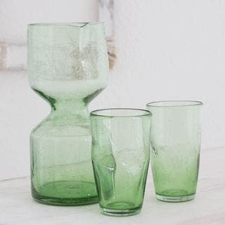 Handmade Set of 2 Blown Glass 'Jade Chalice' Carafe and Glasses (Guatemala)|https://ak1.ostkcdn.com/images/products/12601157/P19396859.jpg?impolicy=medium