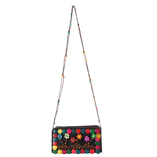 Diophy Multicolored Polyester/PVC Woven Crossbody Handbag
