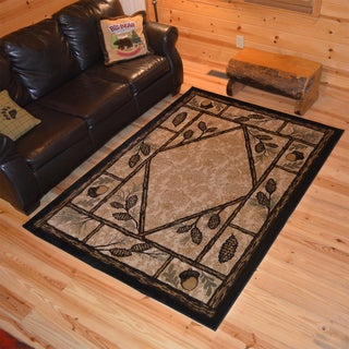 Rustic Lodge Pine Cone Cabin Ivory Polypropylene Area Rug (5'3 x 7'3)