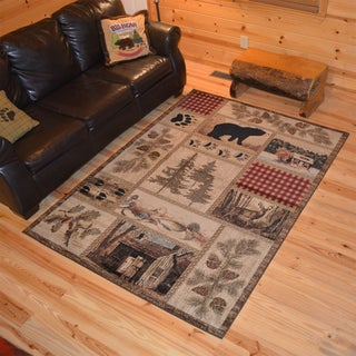 Rustic Lodge Bear Cabin Multipanel Black Polypropylene Area Rug (5'3 x 7'3)