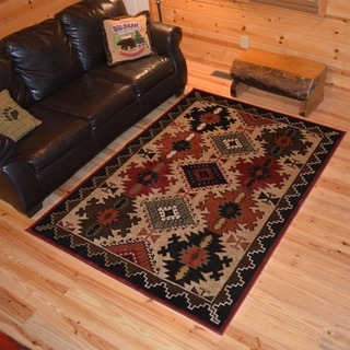 Rustic Lodge Southwestern Cabin Black and Red Polypropylene Area Rug (5'3 x 7'3)