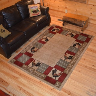 Rustic Lodge Chicken Rooster Cabin Ivory/Multicolor Synthetic Area Rug (5'3 x 7'3) - 5'3 x 7'3