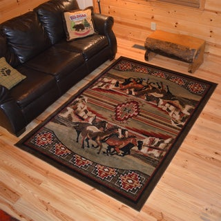 "Rustic Lodge Running Horse Cabin Black Red Area Rug (5'3""x7'3"")"