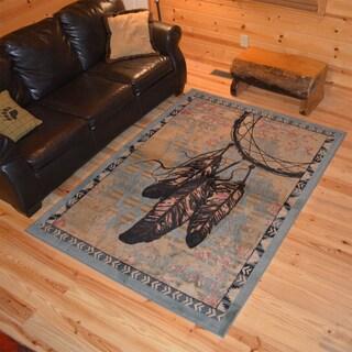Rustic Lodge Dream Catcher Indian Cabin Blue Area Rug (5'3 x 7'3)