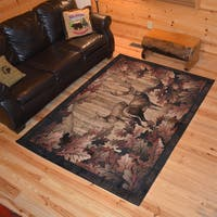 Rustic Lodge Deer Hunt Cabin Multicolor Polypropylene Area Rug - Multi - 5'3 x 7'3
