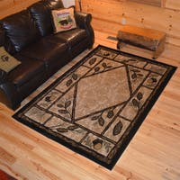 Rustic Lodge Pine Cone Cabin Ivory Area Rug - 2' x 3'