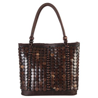 Diophy Brown Polyester/PVC Woven Beaded Large Tote Bag