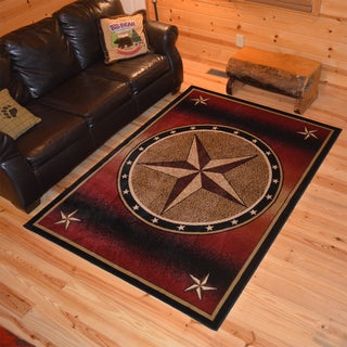 Rustic Lodge Westerm Texan Star Cabin Red/Black Polypropylene Area Rug (2'2 x 3'3)